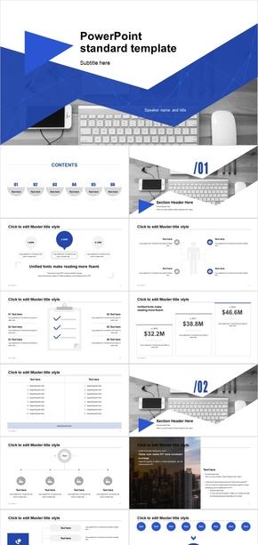 蓝色创意扁平商务范工作总结报告ppt模板