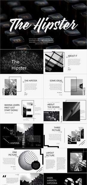黑白简约多图文混排欧美杂志风PPT模板
