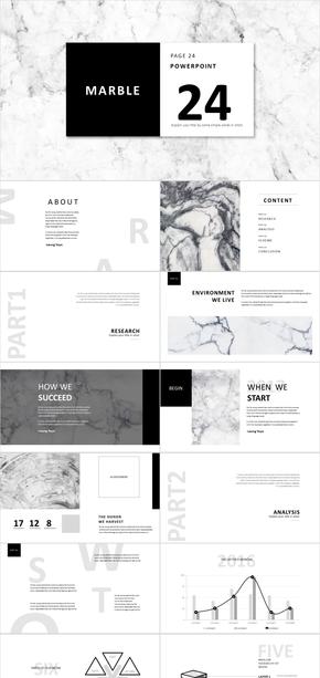 大理石纹理黑白杂志风PPT模板