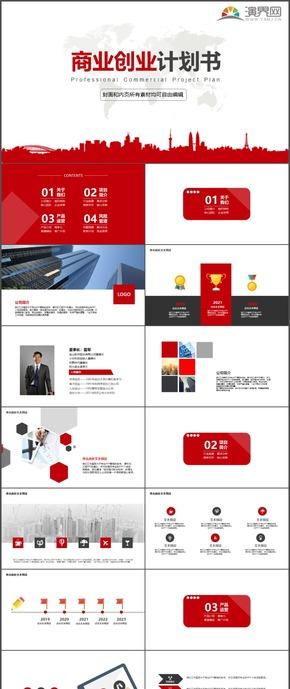 紅色商業創業計劃書時尚動態PPT模板37