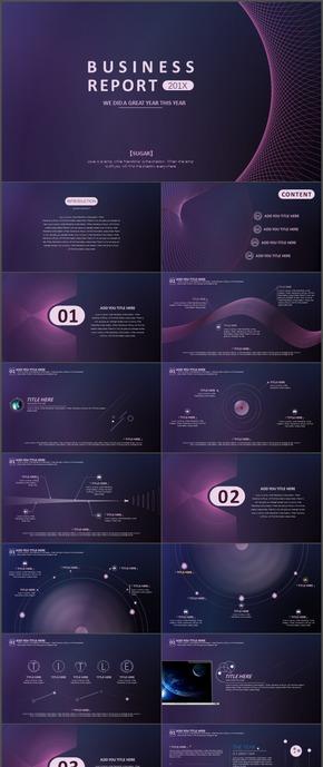 紫色科技炫酷空间网状时尚动态ppt模板28