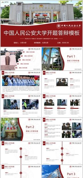 紫色中国人民公安大学公大论文答辩开题报告项目汇报PPT模板