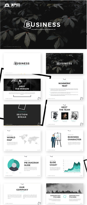 黑色绿色现代商业简洁工作报告公司介绍