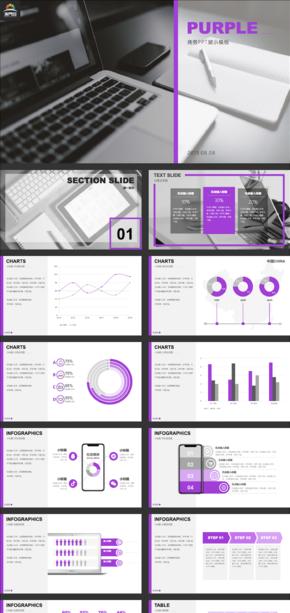 2019紫色现代简约商务工作汇报PPT模板