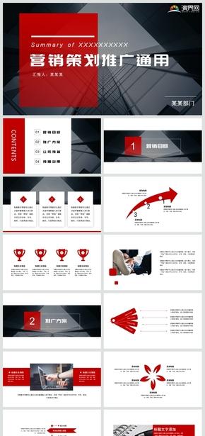 完整框架红色商务风营销策划PPT模板