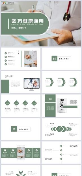 完整框架綠色簡約風現代醫療網絡醫療醫藥健康PPT