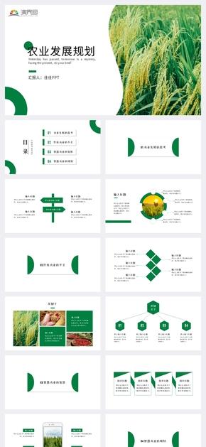 绿色商务风农业发展规划PPT