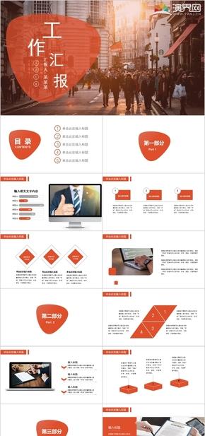 精美動態橙色系實用總結計劃匯報答辯教學培訓咨詢策劃述職報告通用寬屏PPT模板