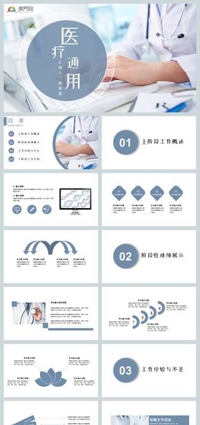 简约风医院医学医药护士护理医疗机构医疗保险医?#24179;?#24247;PPT模板