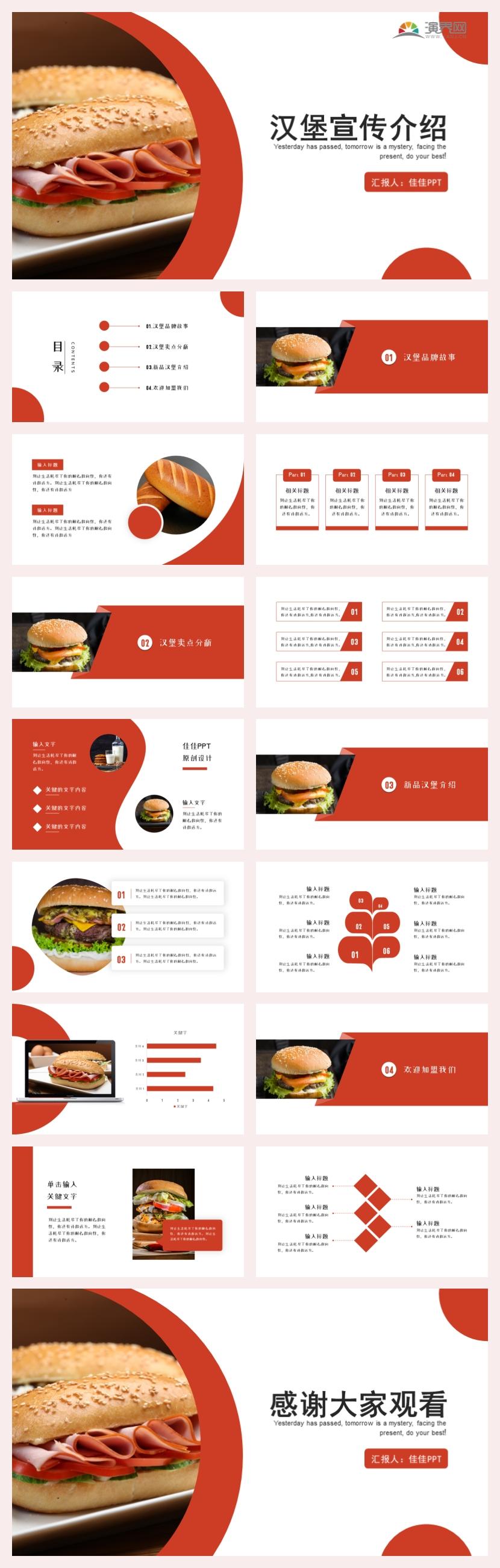 红色商务风汉堡主题餐饮美食PPT