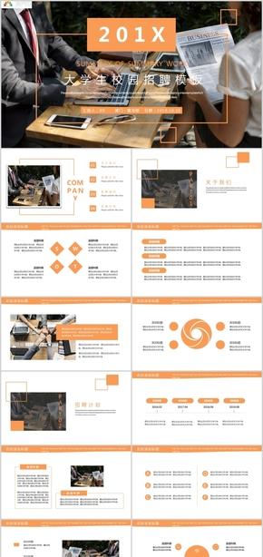 橙色简约大学生校园招聘企业简介PPT模板