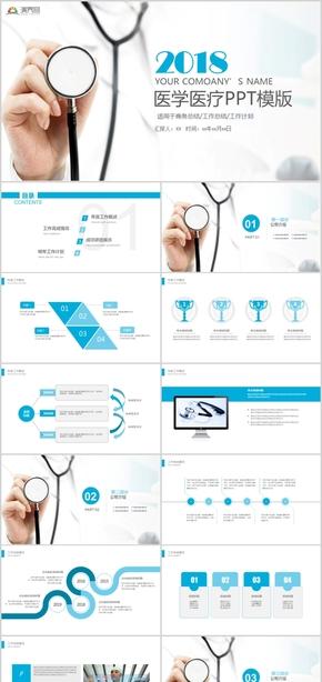 大气简约医疗医生护士工作总结述职报告PPT模板