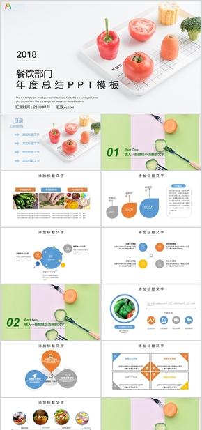 清新简约餐饮部门年度总结计划报告ppt模板