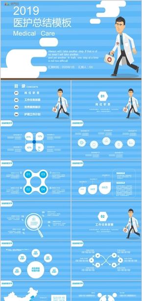 欧美风医疗行业医生护士工作汇报工作计划ppt模板