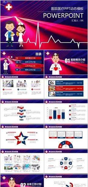 医院医疗工作汇报医生护士工作总结医疗机构汇报报告PPT动态模板