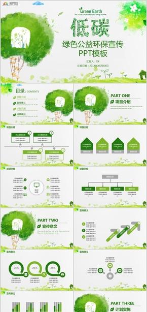 低碳绿色环保公益宣传公益活动汇报PPT模板
