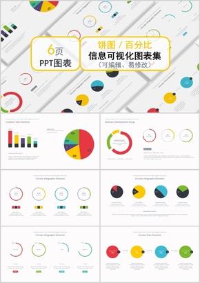 饼图百分比信息可视化图表集PPT模板