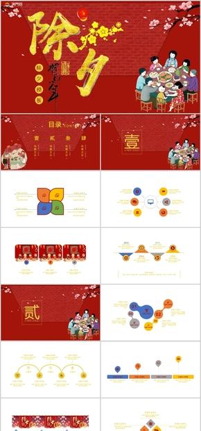 红色喜庆春节除夕PPT模板