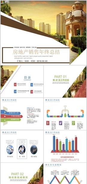 房地产销售年终工作总结述职报告PPT模板范本