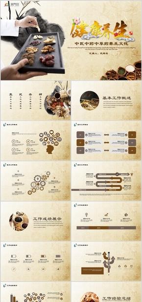中医中药中草药养生文化工作总结述职报告PPT模板