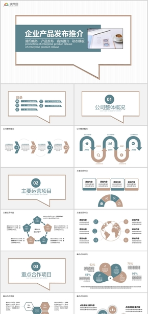 簡約商務產品發布商務推介動態PPT模板