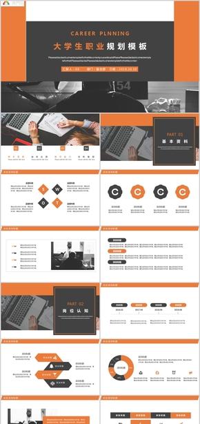 橙色简约述职报告策划方案大学生职业规划PPT模板