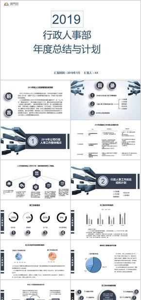 蓝色简约行政人事部年度总结与计划报告PPT模板