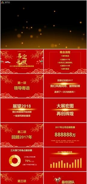 企业年会新年庆典年会颁奖典礼节日庆典新年晚会颁奖典礼新年颁奖盛典PPT模板