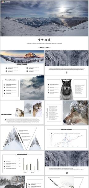 旅游风景雪山森林动物彩色商务杂志时尚创意简约风工作汇报商业计划书述职报告公司简介产品介绍PPT模板