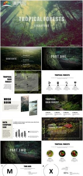 黑白绿色自然森林风景植物山峰唯美艺术创意杂志商务扁平化简约风月度季度年度工作总结汇报晋升PPT模板