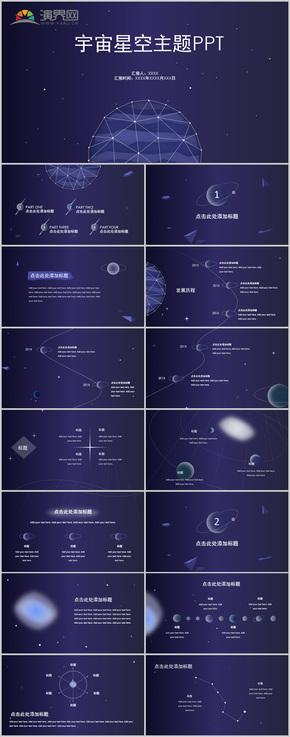 创意紫色宇宙星空主题商务商业计划PPT模板