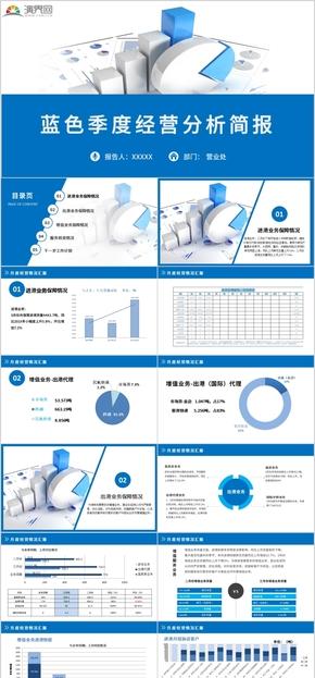 蓝色商务公司企业部门季度经营分析工作计划总结通用PPT模板