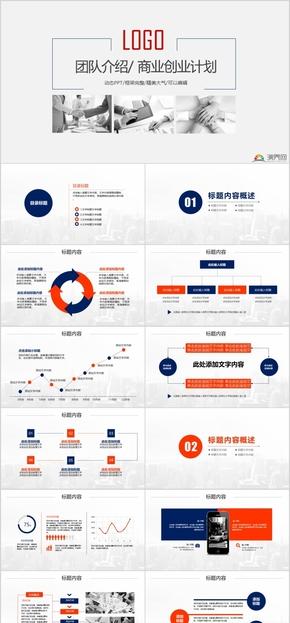蓝色简洁实用团队介绍商业创业计划PPT模板