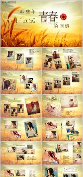 时尚温暖麦穗青春回忆录纪念相册PPT模板