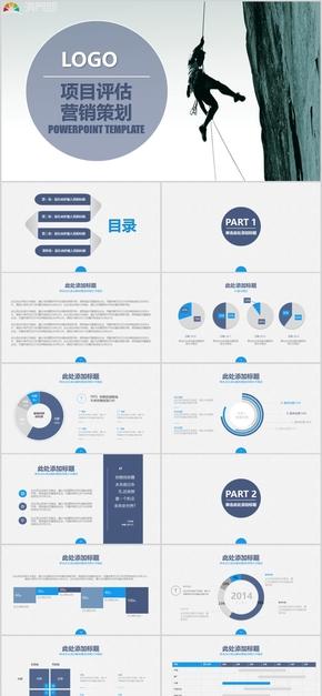 2019项目评估营销策划蓝灰简约大气PPT模板