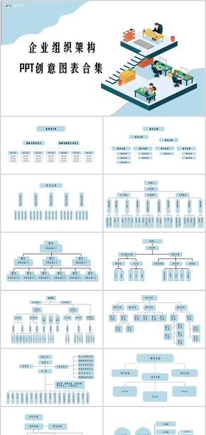 企业组织架构创意PPT图表
