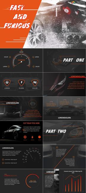 橙色黑色大气风汽车行业通用炫酷PPT模板