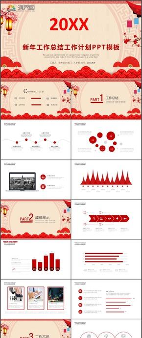 红色商务中国风工作报告新年工作计划工作总结通用PPT模板7