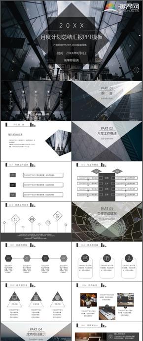 黑白商务月度计划工作总结汇报述职报告时尚动态通用PPT模板43