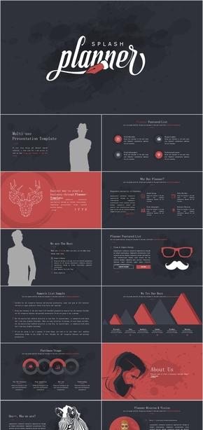 红黑主题杂志风商品介绍图册述职报告PPT模板