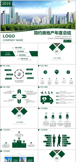 简约房地产企业公司年度总结工作报告销售培训工作汇报|月度总PPT模板