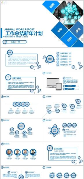 企业公司简约风年度总结汇报总结计划工作总结工作汇报述职报告PPT模板