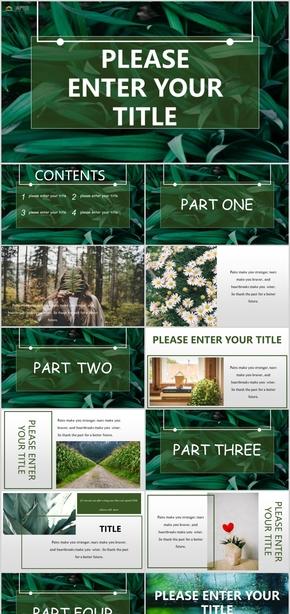 绿色清新图文杂志风通用模板