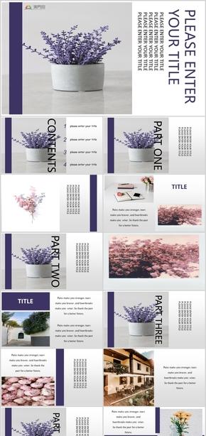 紫色图文杂志风通用模板