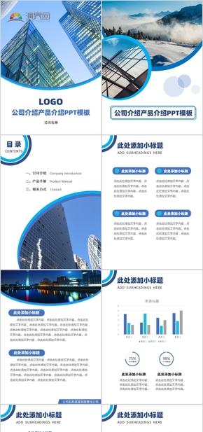 竖版 蓝色 商务 通用 企业 公司介绍 PPT模板