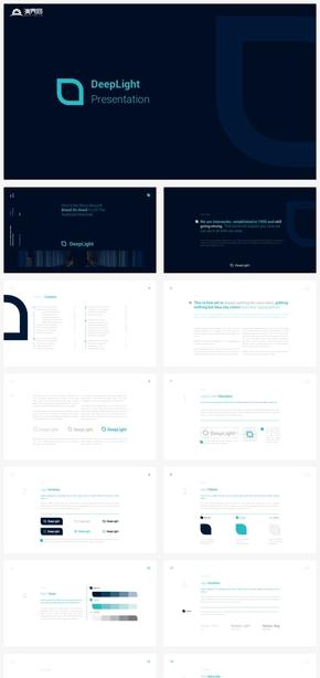 【冷淡】深蓝正式LOGO设计规范提案商务商业计划书ppt模板
