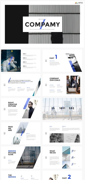 【规则】创意时尚个性商务蓝工作汇报计划总结欧美ppt模板