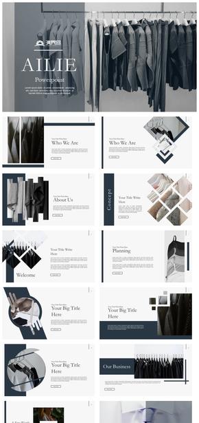 【时尚】服饰服装冷色系新品上市企业简介活动策划ppt模板