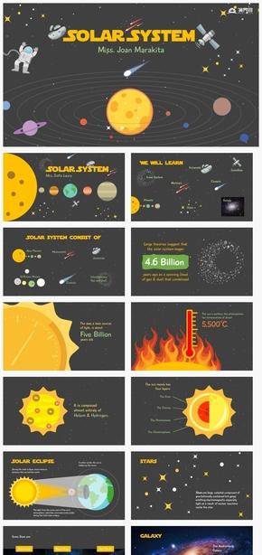 【细节】创意卡通星球宇宙星系个性汇报总结ppt模板