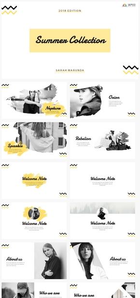 【细节】黄色时尚波浪线条设计活力设计感ppt模板